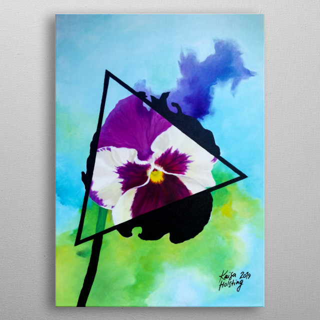 Digital copy of a traditional acrylic painting on canvas of a yellow-purple pansy in a triangle with a watercolour-imitation background. metal poster