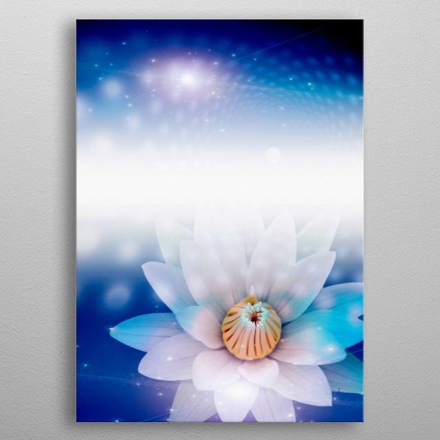 Lotus White Flower metal poster