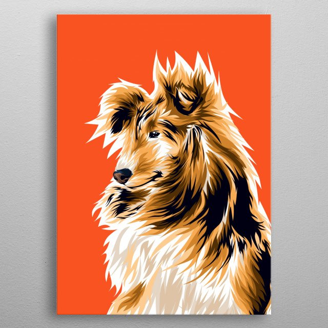 An illustration of cute dog metal poster