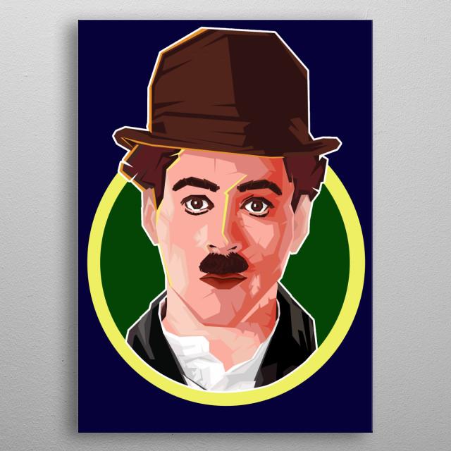 Vector Art Charlie Chaplin Potrait metal poster