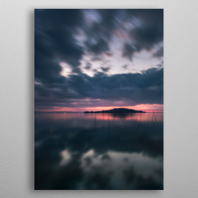 The silhouette of Polvese Island in the middle of the Trasimeno Lake in Italy. Fine art landscape. metal poster