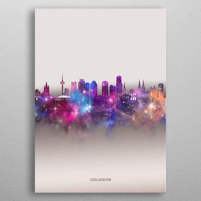 Cologne skyline inspired by decorative,modern,galaxy,nebula,pop art design metal poster