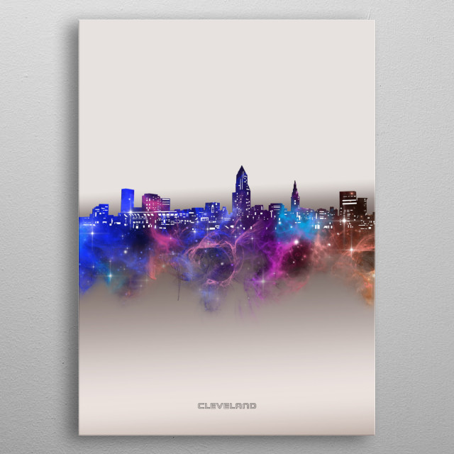 Cleveland skyline inspired by decorative,modern,galaxy,nebula,pop art design metal poster