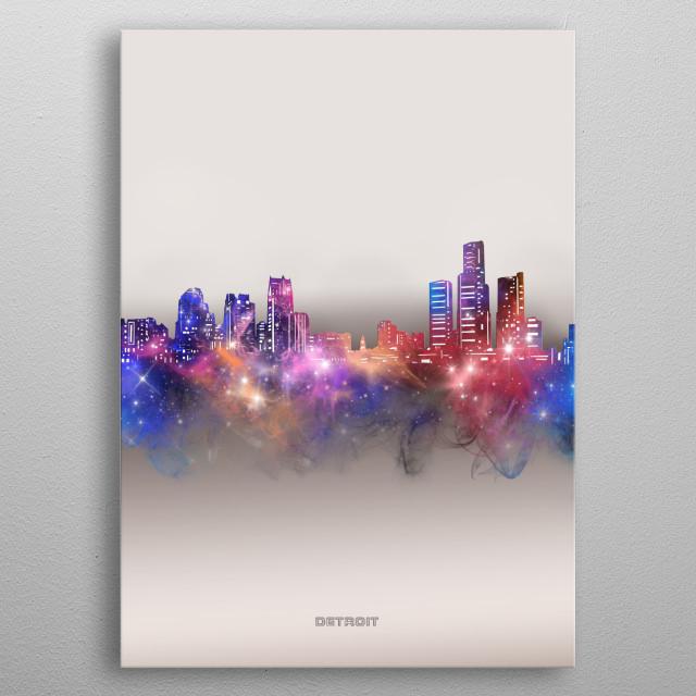 Detroit skyline inspired by decorative,modern,galaxy,nebula,pop art design metal poster