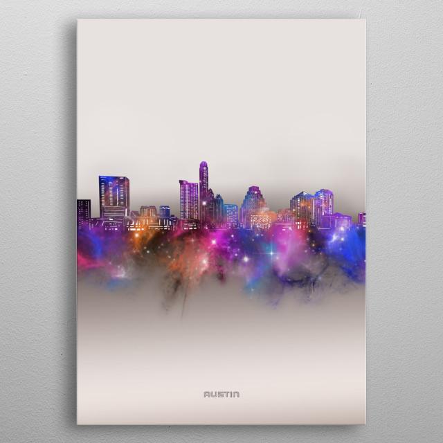 Austin skyline inspired by decorative,modern,galaxy,nebula,pop art design metal poster