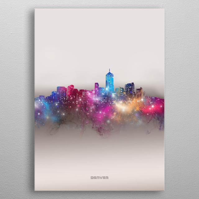 Denver skyline inspired by decorative,modern,galaxy,nebula,pop art design metal poster
