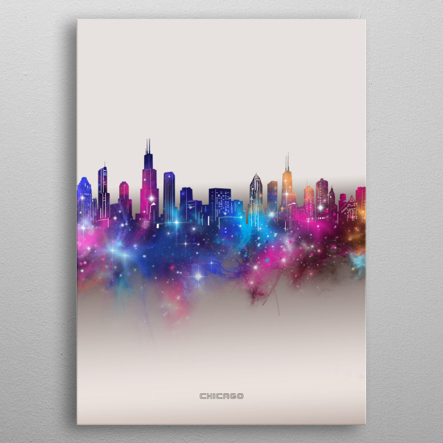 Chicago skyline inspired by decorative,modern,galaxy,nebula,pop art design metal poster