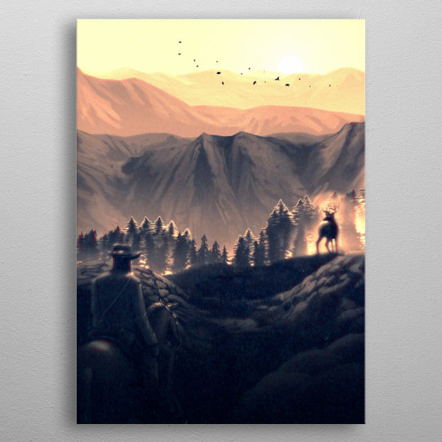 An illustration of a cowboy on a mountainside riding a horse while a stag looks on. metal poster