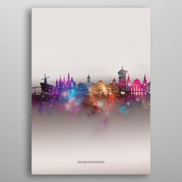 Amsterdam skyline inspired by decorative,modern,galaxy,nebula,pop art design metal poster