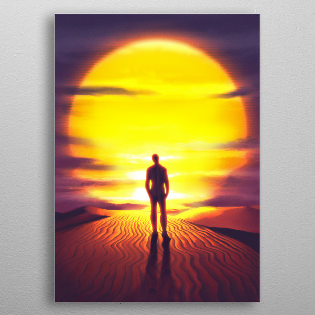 An illustration of a person walking across sand dunes into a large setting sun. metal poster
