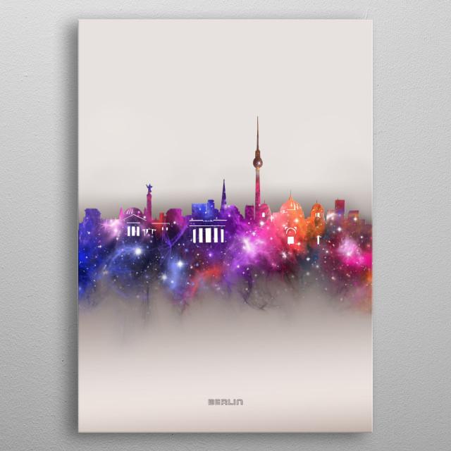 Berlin skyline inspired by decorative,modern,galaxy,nebula,pop art design metal poster