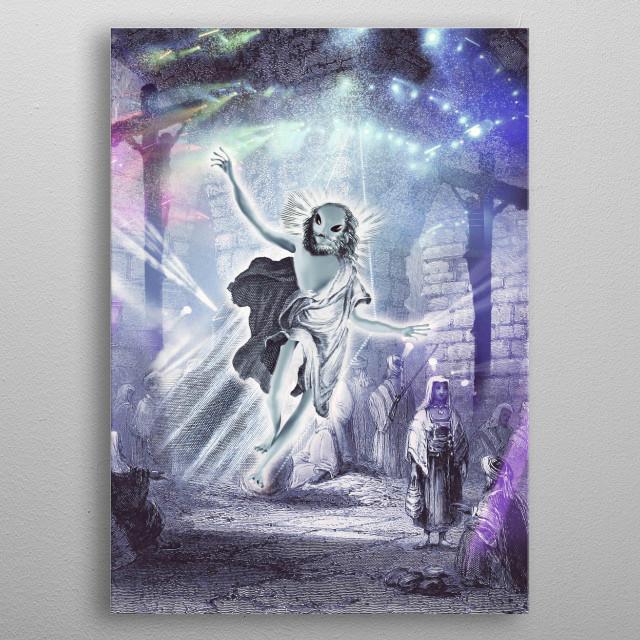 Jesus saves, Alien Jesus raves. Pick up this funny Alien Jesus in a Jerusalem rave with cross design.  metal poster