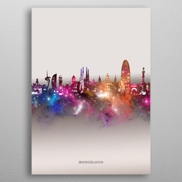 Barcelona skyline inspired by decorative,modern,galaxy,nebula,pop art design metal poster