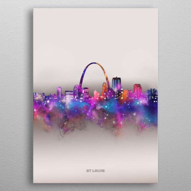 St Louis skyline inspired by decorative,modern,space,galaxy,nebula,pop art design metal poster