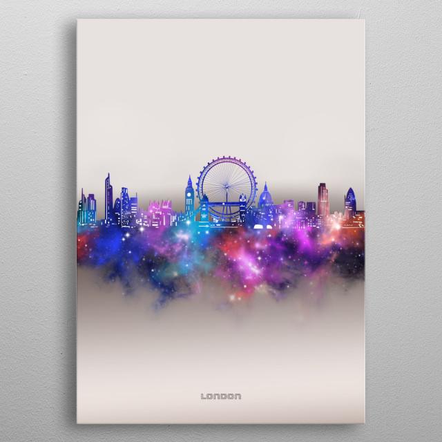 London skyline inspired by decorative,modern,galaxy,nebula,pop art design metal poster