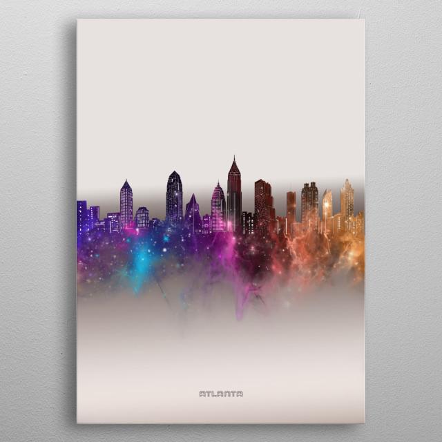 Atlanta  skyline inspired by decorative,modern,galaxy,nebula,pop art design metal poster