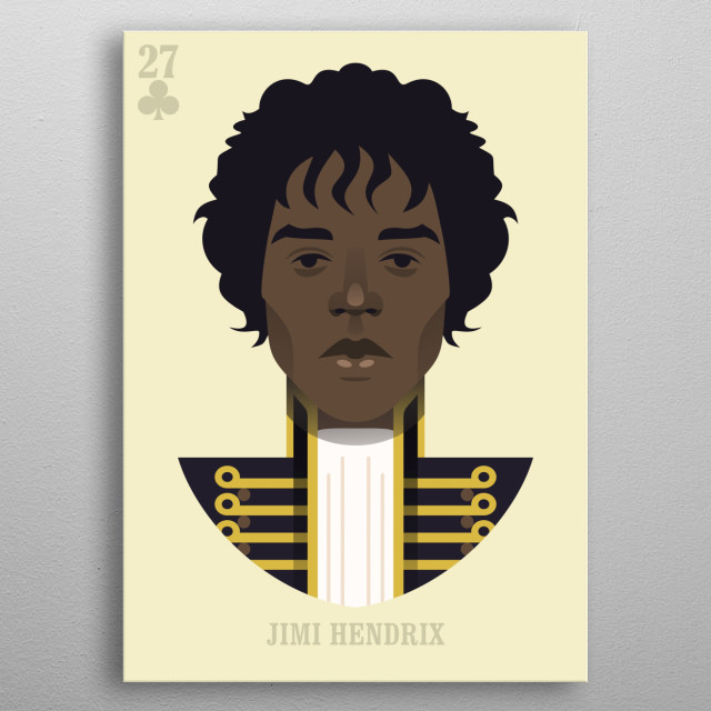 Jimi Hendrix vector illustration portrait metal poster