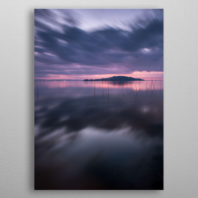 Isola Polvese in the middle of the Trasimeno Lake. Fine art landscape. metal poster