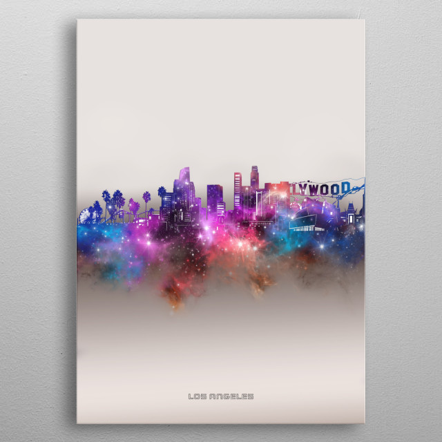 Los Angeles skyline inspired by decorative,modern,galaxy,nebula,pop art design metal poster