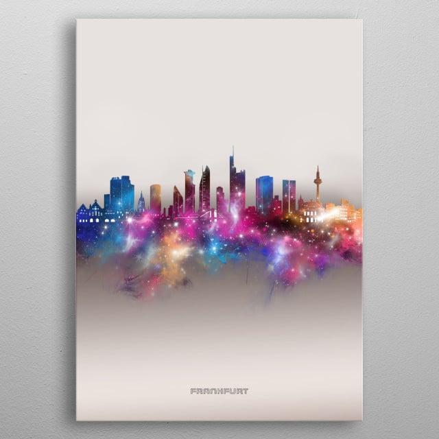 Frankfurt skyline inspired by decorative,modern,galaxy,nebula,pop art design metal poster