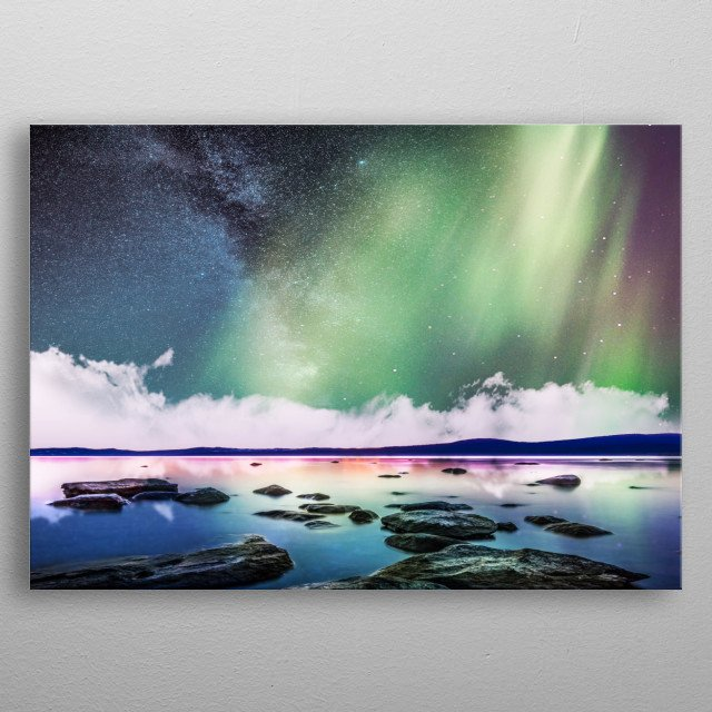Milky way with aurora metal poster