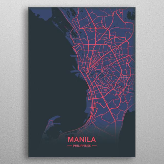 Manila, Philippines metal poster