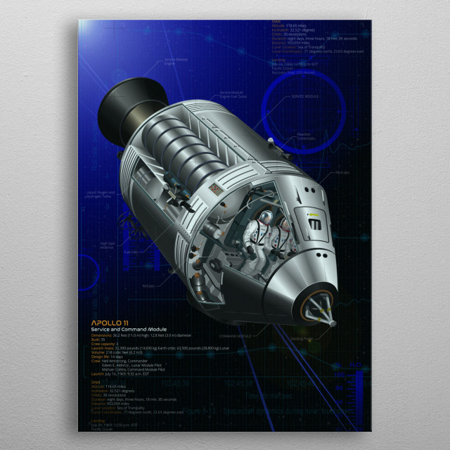 Apollo 11 first landed man on the moon. Based on extensive archive NASA research, this design delivers a fresh look at this amazing machine. metal poster
