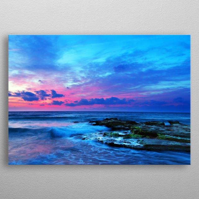 Digital painting of an image of Playa de la Misericordia in Spain. Original image credit: A. Quino metal poster
