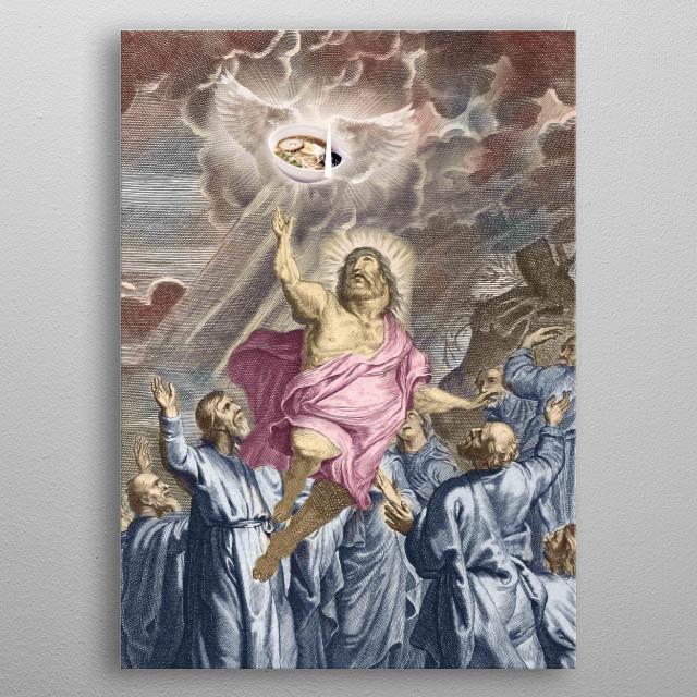 Thank God for Ramen noodles. Pick up this funny fat Jesus design.  metal poster