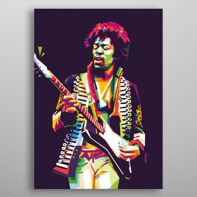 James Marshall Hendrix was an American rock guitarist, singer, and songwriter. i illustrate him into WPAP Pop Art. metal poster