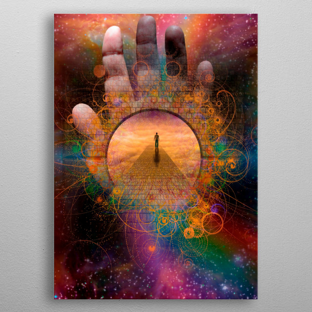 Man enters passage in stars metal poster