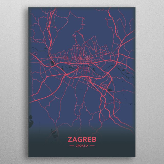 Zagreb, Croatia metal poster