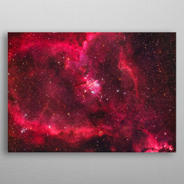 The Heart Nebula, IC 1805, lies some 7500 light years away from Earth and is located in the Perseus Arm of the Galaxy (Cassiopeia). metal poster