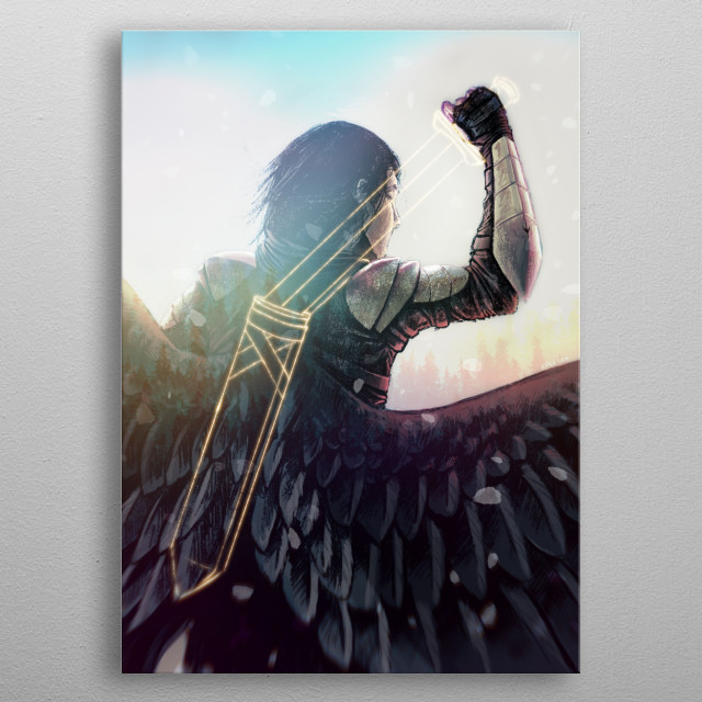An illustration of a male in armor with large black and white wings wielding a ghostly outlined sword. metal poster