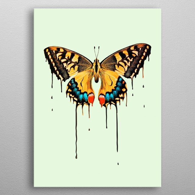 Melting Butterfly metal poster