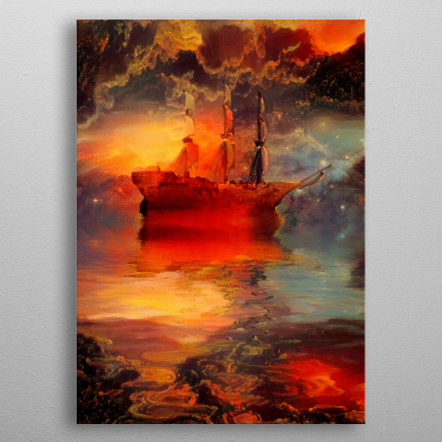 Ancient sailboat and red sunset metal poster