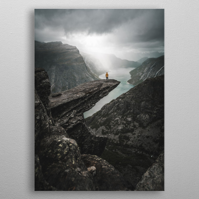 Spectacular rock formation situated about 1,100 metres above sea level in the municipality of Odda in Hordaland county, Norway metal poster