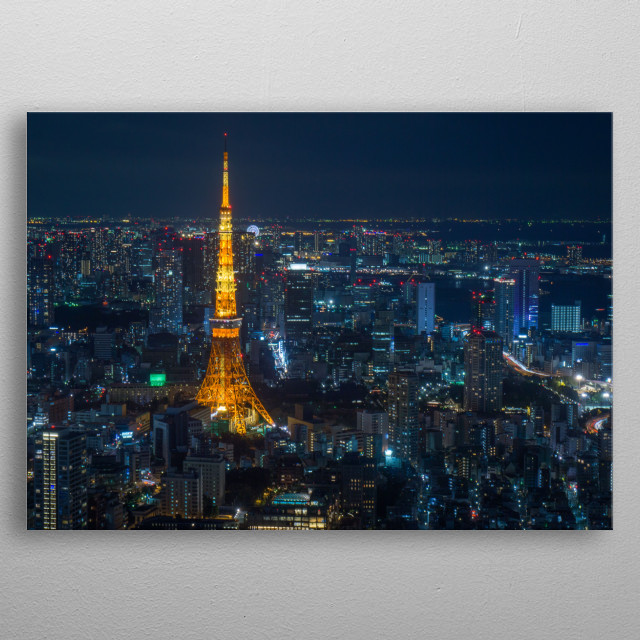A night view of Tokyo tower and endless skyline. metal poster