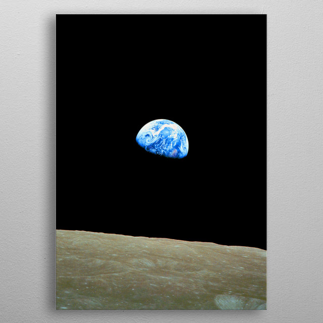 Earth-rise image by NASA celebrating the 50th anniversary of the moon landing metal poster