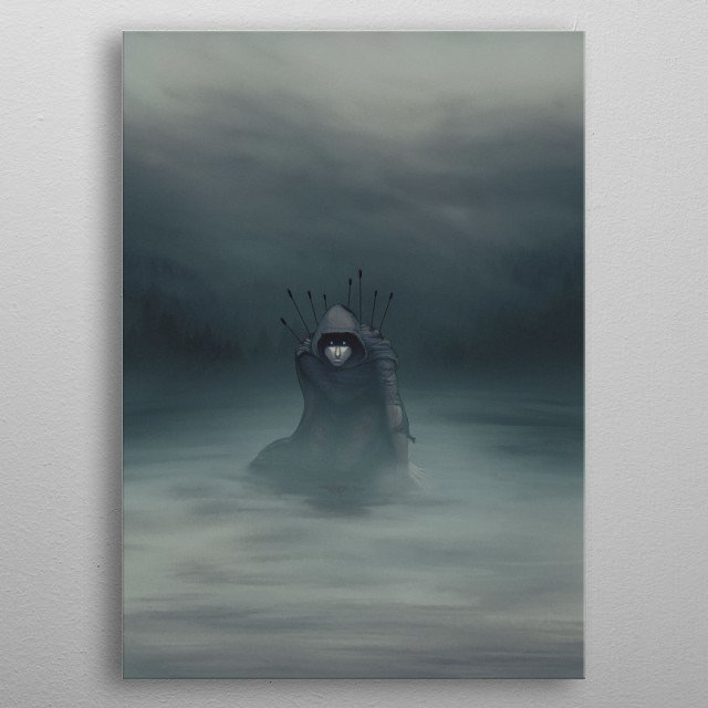 An illustration of a hooded man on his knees. His eyes are luminous. There are arrows sticking out of his back. metal poster