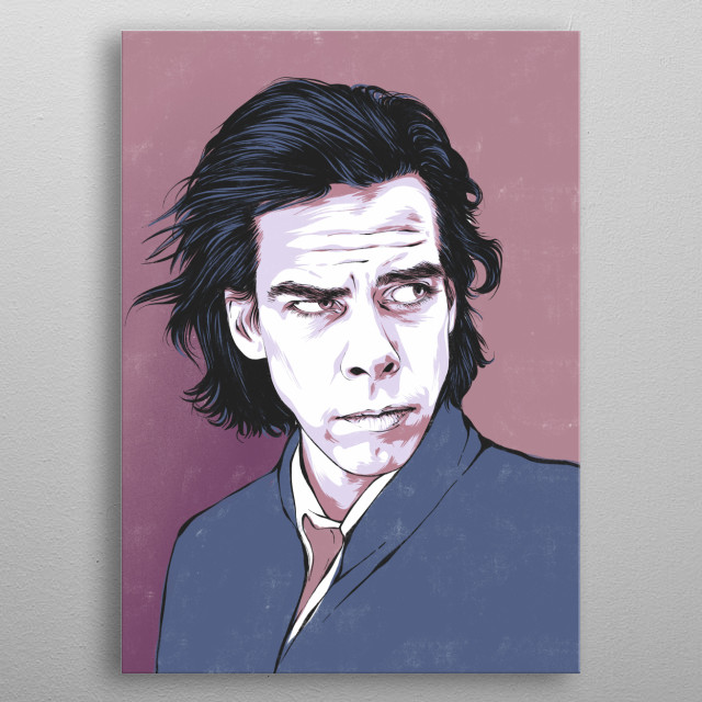 Illustration of Nick Cave in a vintage poster style inspired by his music.  metal poster