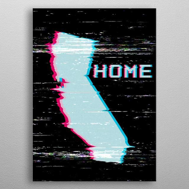 Retro California 80s VHS Effect metal poster