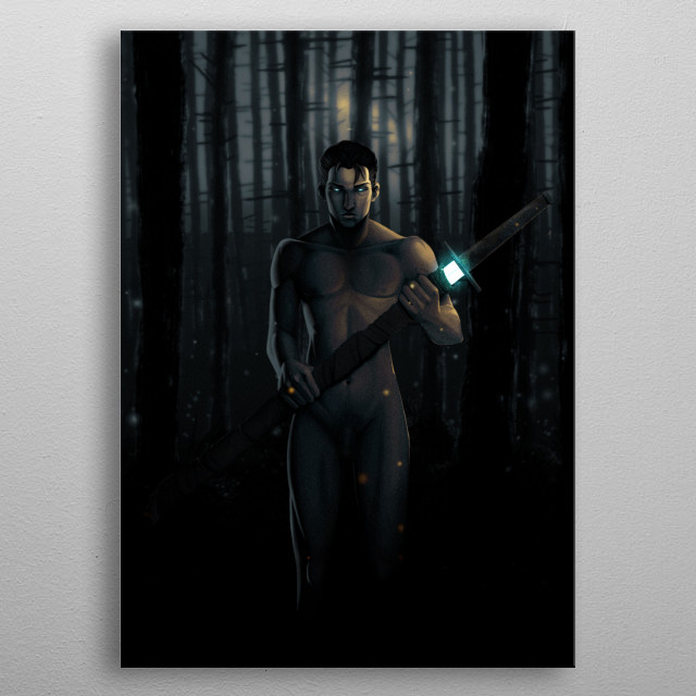 A nude male holding a fabric wrapped zweihander (two-handed sword), with a portion of the blade glowing. His eyes are also glowing. metal poster