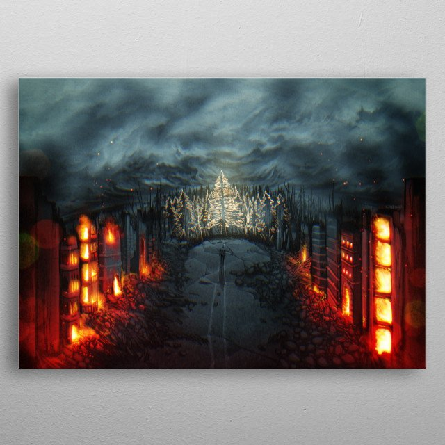 An illustration of a person walking through a burned up and destroyed city towards a ghostly forest. metal poster