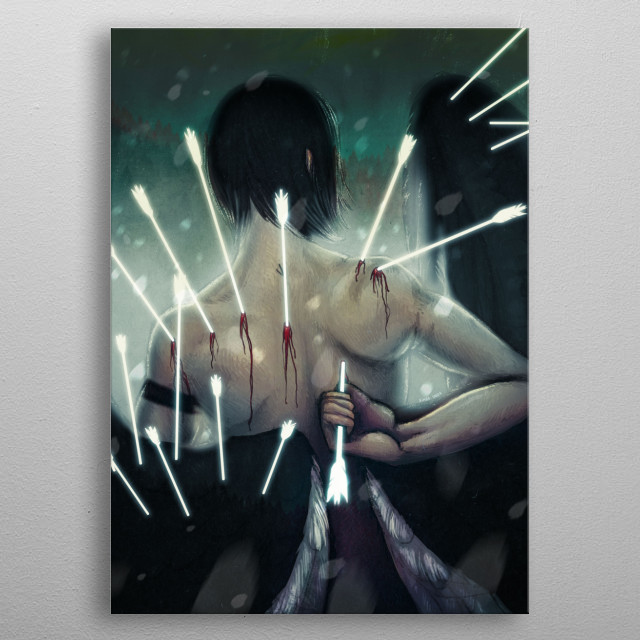 An illustration of a male with large black and white wings pulling luminous arrows from his back. metal poster