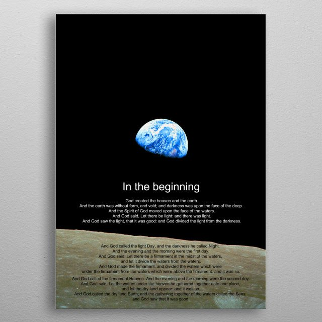 NASA earthrise image with text from Genesis metal poster