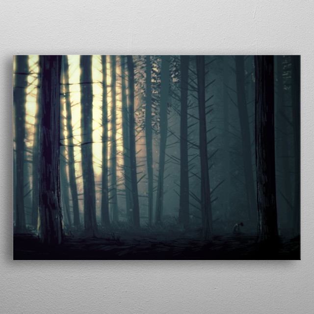 The feeling of being alone in the woods. A mature pine forest with a figure kneeling in the corner. metal poster