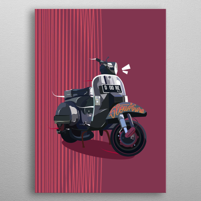 Black Vespa in Vector metal poster