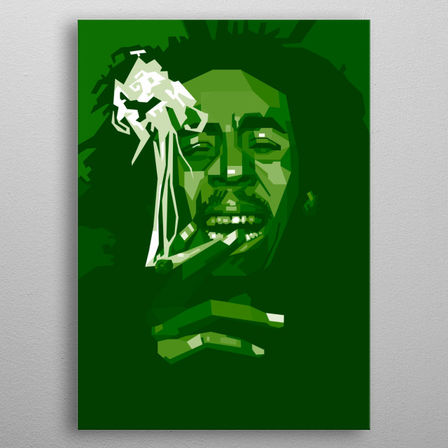 Bob marley Green Color abstract style metal poster