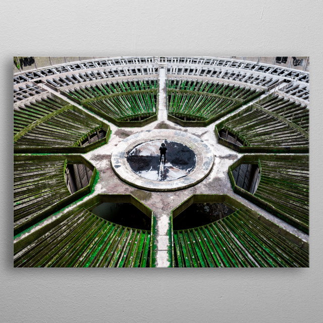 Aerial - Drone photography of a world famous Plant Tower in Belgium.  metal poster